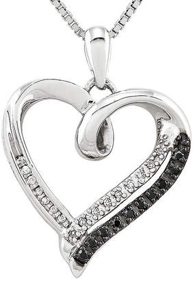 Black Diamond FINE JEWELRY 1/10 CT. T.W. White and Color-Enhanced Sterling Silver Heart Pendant Necklace