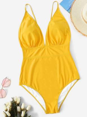 Shein Plus Ruched Low Back One Piece Swimsuit