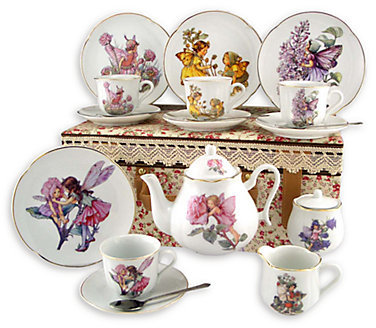 Reutter Porcelain Kid's Flower Fairies Large 19-Piece Tea Set