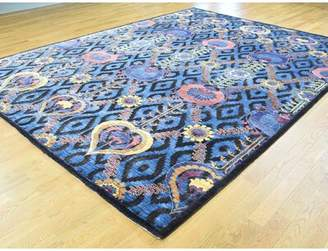 Isabelline One-of-a-Kind Bourland Arts Crafts Handwoven Blue Wool/Silk Area Rug Isabelline