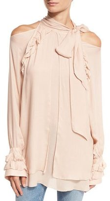 Iro Frejan Voile Cold-Shoulder Top, Pink Sand $290 thestylecure.com