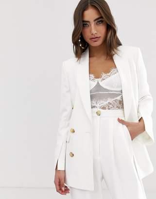 Asos Design DESIGN button suit blazer in white