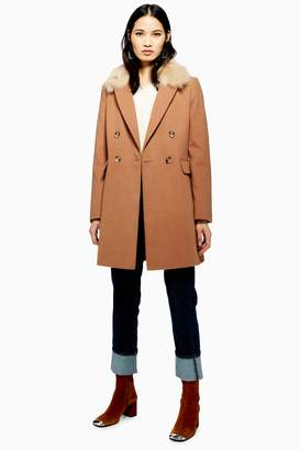 Topshop Womens Faux Fur Collar Coat - Camel