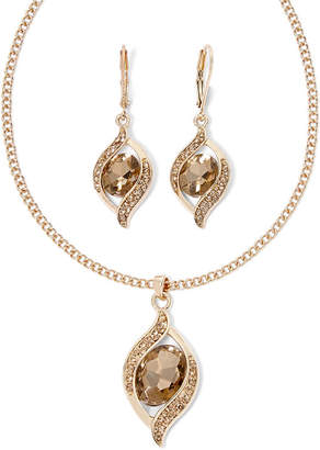 MONET JEWELRY Monet Gold-Tone Brown Crystal Ornament Necklace and Earring Set