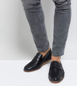 Silver Street Wide Fit Woven Loafers In Black Leather