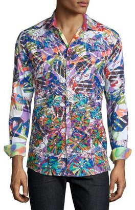 Robert Graham Limited Edition Allover Printed Sport Shirt, Multi $398 thestylecure.com