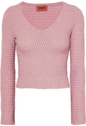 Missoni Cropped Metallic Crochet-knit Sweater - Pink