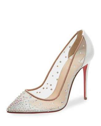 Christian Louboutin Follies Strass 100mm Red Sole Pump, White/Nude $1,195 thestylecure.com