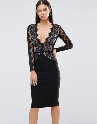 Rare London Pencil Dress With Scallop Lace Bodice and Sleeve $88 thestylecure.com