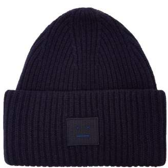Acne Studios Pansy S Face Ribbed Knit Beanie Hat - Womens - Navy