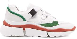 Chloé Sonnie Raised Sole Low Top Leather Trainers - Womens - Green White