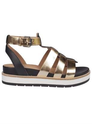 Janet & Janet Metallic Wedge Sandals