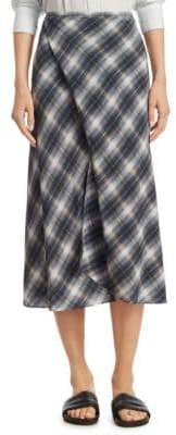 Vince Shadow Plaid Draped Silk Skirt