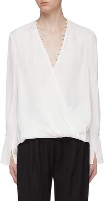 3.1 Phillip Lim Faux pearl trim mock wrap V-neck blouse