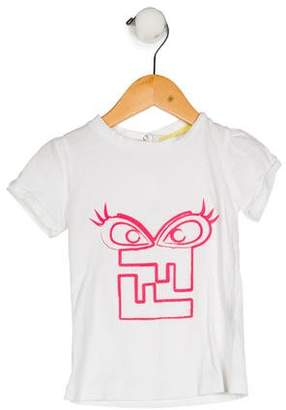 Fendi Girls' Graphic Short Sleeve Top