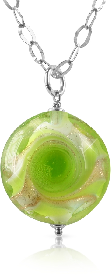 Murano House of Vortice - Lime Glass Swirling Bead Sterling Silver Necklace