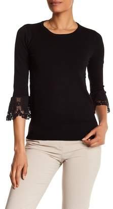 Catherine Malandrino Crocheted Trim Elbow Sleeve Sweater