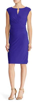 Lauren Ralph Lauren Cap-Sleeve Faux-Wrap Dress