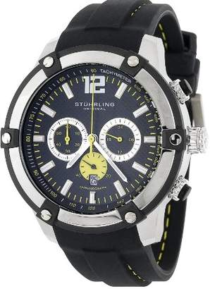 """Stuhrling Original Men's 268.332D61 """"Champion Victory"""" Stainless Steel Watch with Black Silicon Strap"""