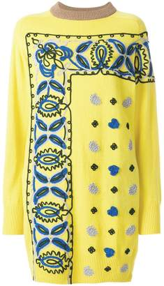 Sacai embroidered sweater dress