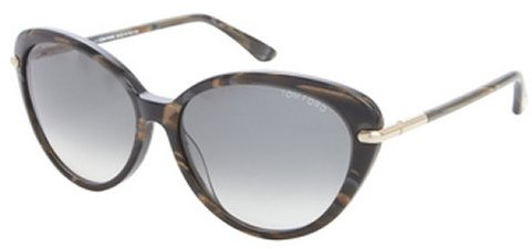 Tom Ford black and brown acrylic 'Willa' goldtone accent sunglasses