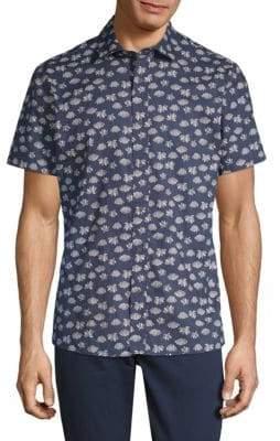 Slate & Stone Lotus-Print Short-Sleeve Cotton Button-Down Shirt