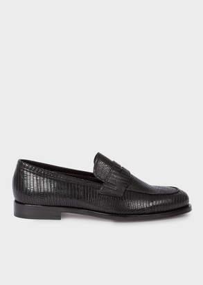 Paul Smith Men's Black Lizard-Effect Leather 'Wolf' Loafers