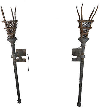 One Kings Lane Vintage Wrought Iron Torchiere Sconces - Set of 2