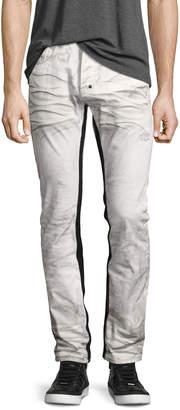 PRPS Demon Binary Slim-Straight Jeans with Tuxedo Stripe, White