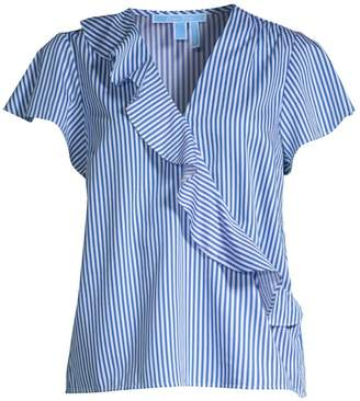 Draper James Cascading Ruffle Striped Blouse
