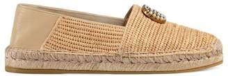 Gucci Raffia espadrille with Double G