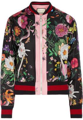 Gucci Printed Silk-satin Bomber Jacket - Black