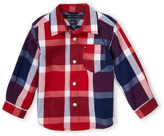Tommy Hilfiger Newborn Boys) Lance Long Sleeve Plaid Woven Shirt
