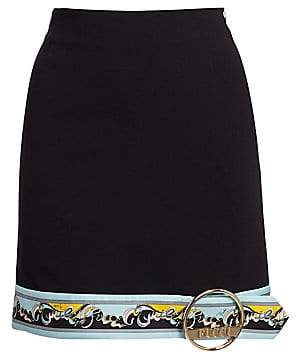 Emilio Pucci Women's Buckle Hem Border Print Mini Skirt