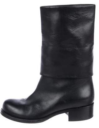 Chanel CC Leather Fold-Over Booties