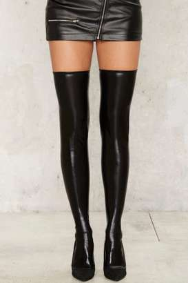 Factory Kendall Wet Look Thigh High Socks $12 thestylecure.com