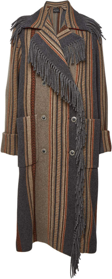Printed Wool Coat with Fringed Trim