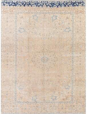 BEIGE Rugsource One-of-a-Kind Antique Persian Oriental Over-Dye Hand-Knotted 9'2'' x 12'9'' Wool Area Rug Rugsource