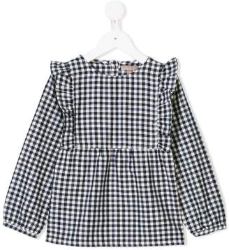 Emile et Ida gingham pattern ruffle dress