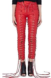 Taverniti So Ben Unravel Project Women's Leather Lace-Up Skinny Pants - Red