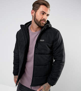 Nicce London puffer jacket in black with hood exclusive to asos