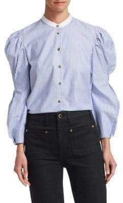Khaite Rebecca Puffy Sleeve Stripe Shirt