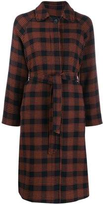 RED Valentino belted plaid coat