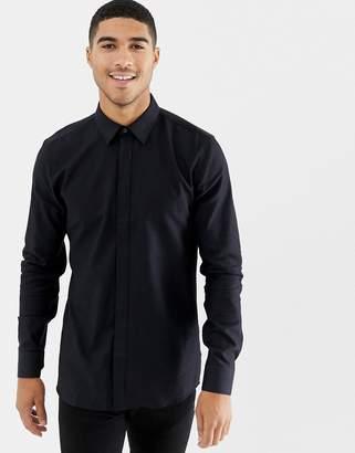 e4db3130e HUGO Elisha extra slim fit glitter shirt in black