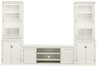 Pottery Barn Logan Media Suite with Drawers and Glass Towers, Antique White