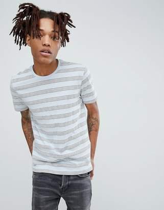 AllSaints T-Shirt In Pink In Grey Stripe