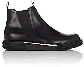 Prada Men's Wedge-Sole Leather Chelsea Boots-Black