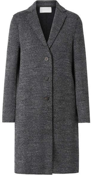 Herringbone Wool-tweed Coat - Gray