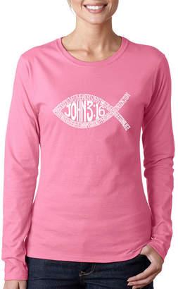 LOS ANGELES POP ART Los Angeles Pop Art Women's Word Art Long Sleeve T-Shirt - John 3:16 Fish Symbol