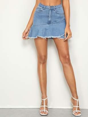 Shein Raw Hem Flounce Denim Skirt